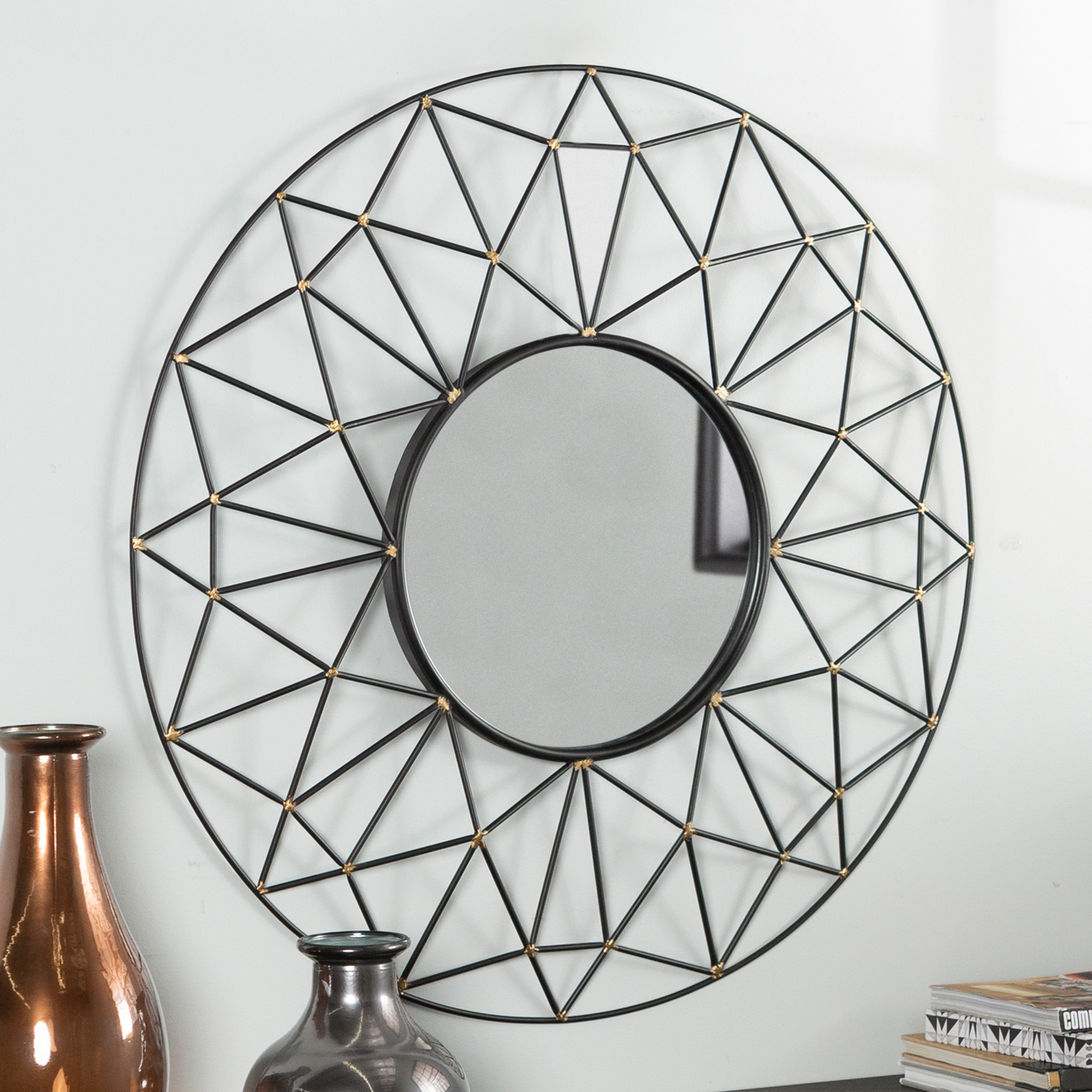 Round Geometric Frame Mirror with Gold Accents