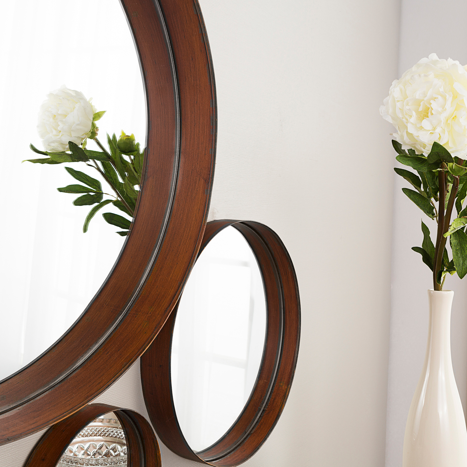 Banded Round Copper Mirrors Set of 3