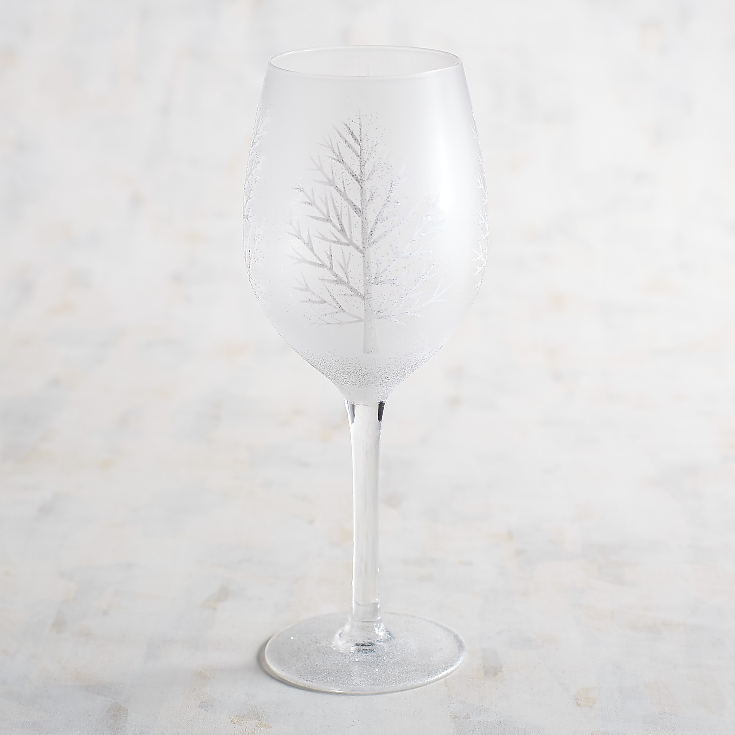 Frosted Tree Hand-Painted Wine Glass