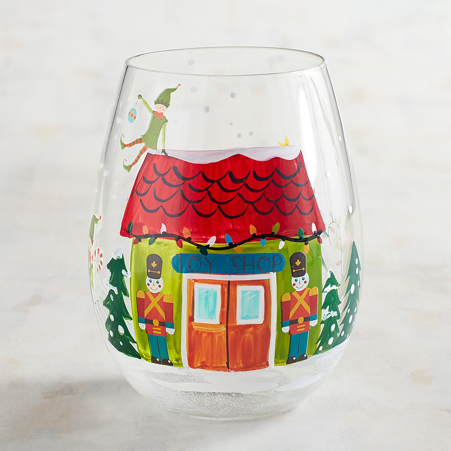 Santa's Toy Shop Hand-Painted Stemless Wine Glass