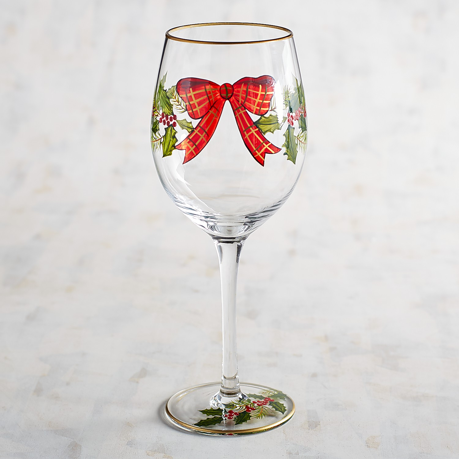 Plaid Bow & Garland Hand-Painted Wine Glass