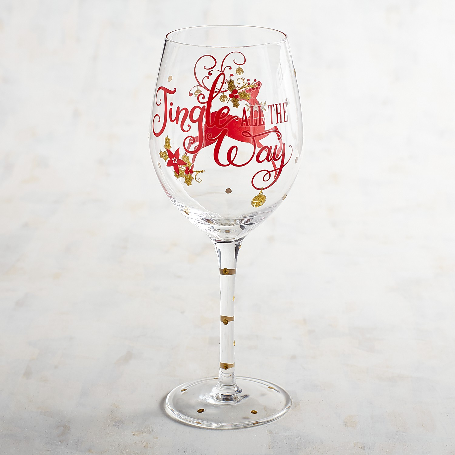 Jingle All the Way Hand-Painted Wine Glass
