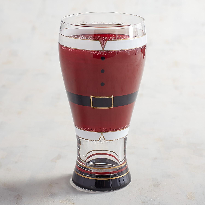 Santa Belt Hand-Painted Beer Glass