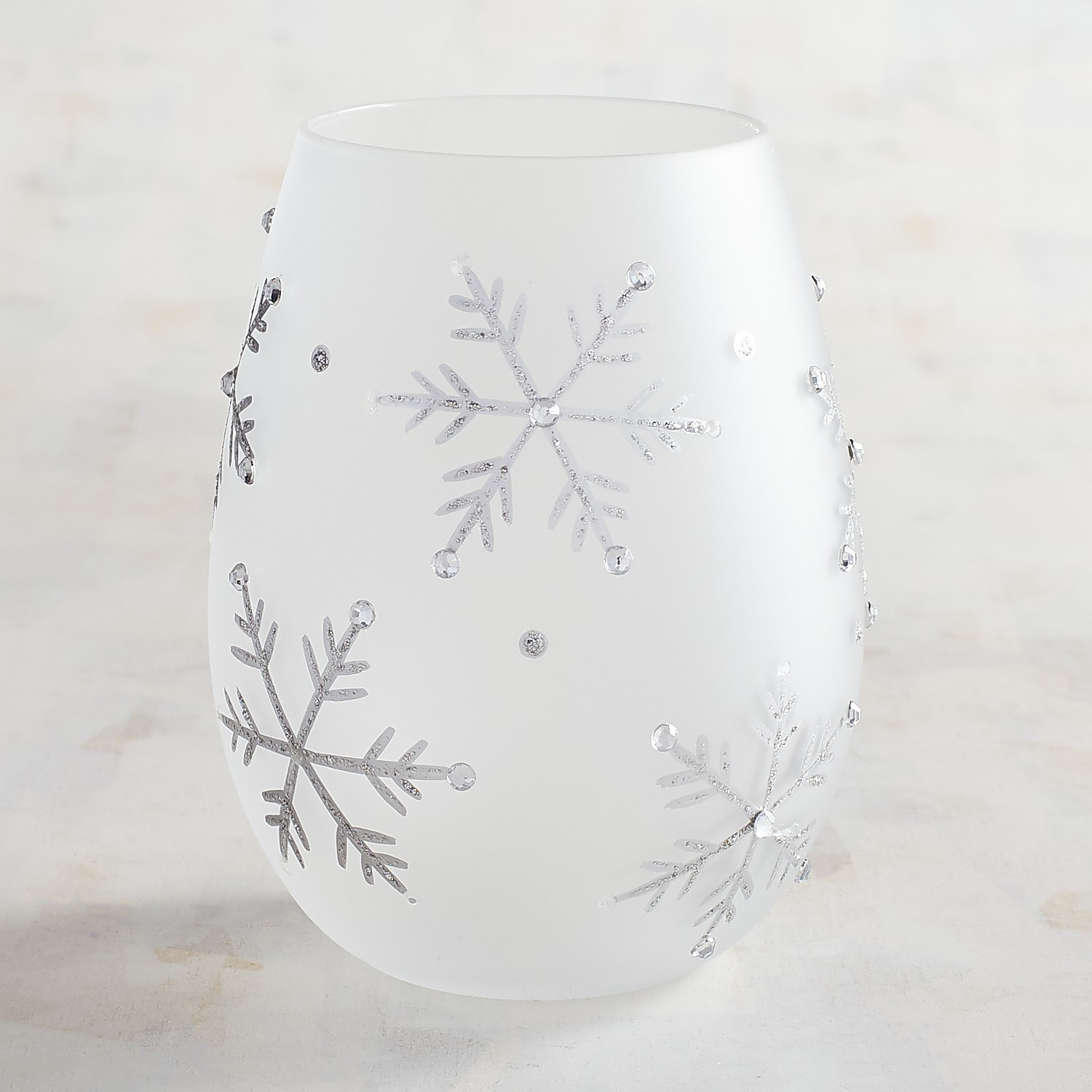 Frosted Snowflake Hand-Painted Stemless Wine Glass