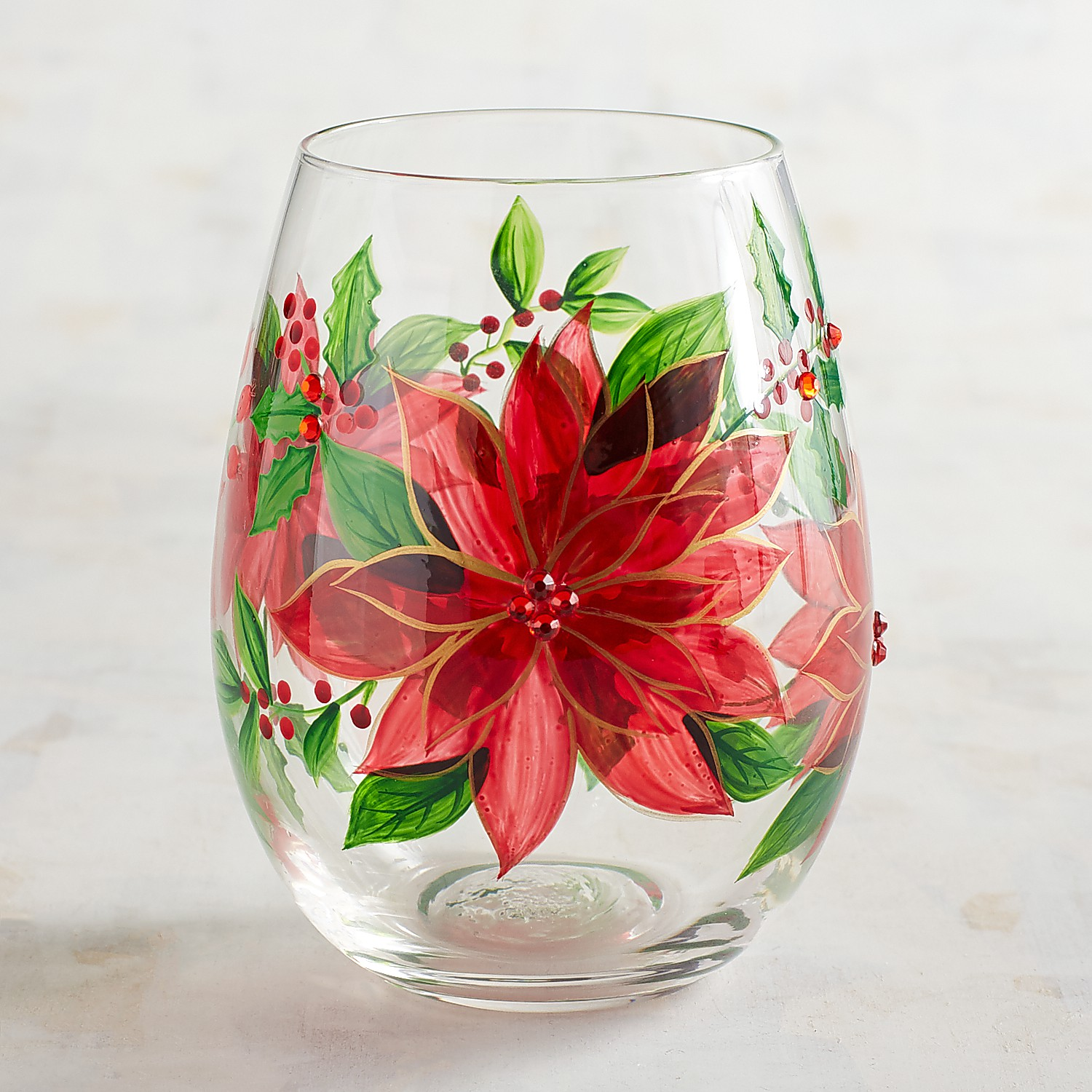 Poinsettia Hand-Painted Stemless Wine Glass