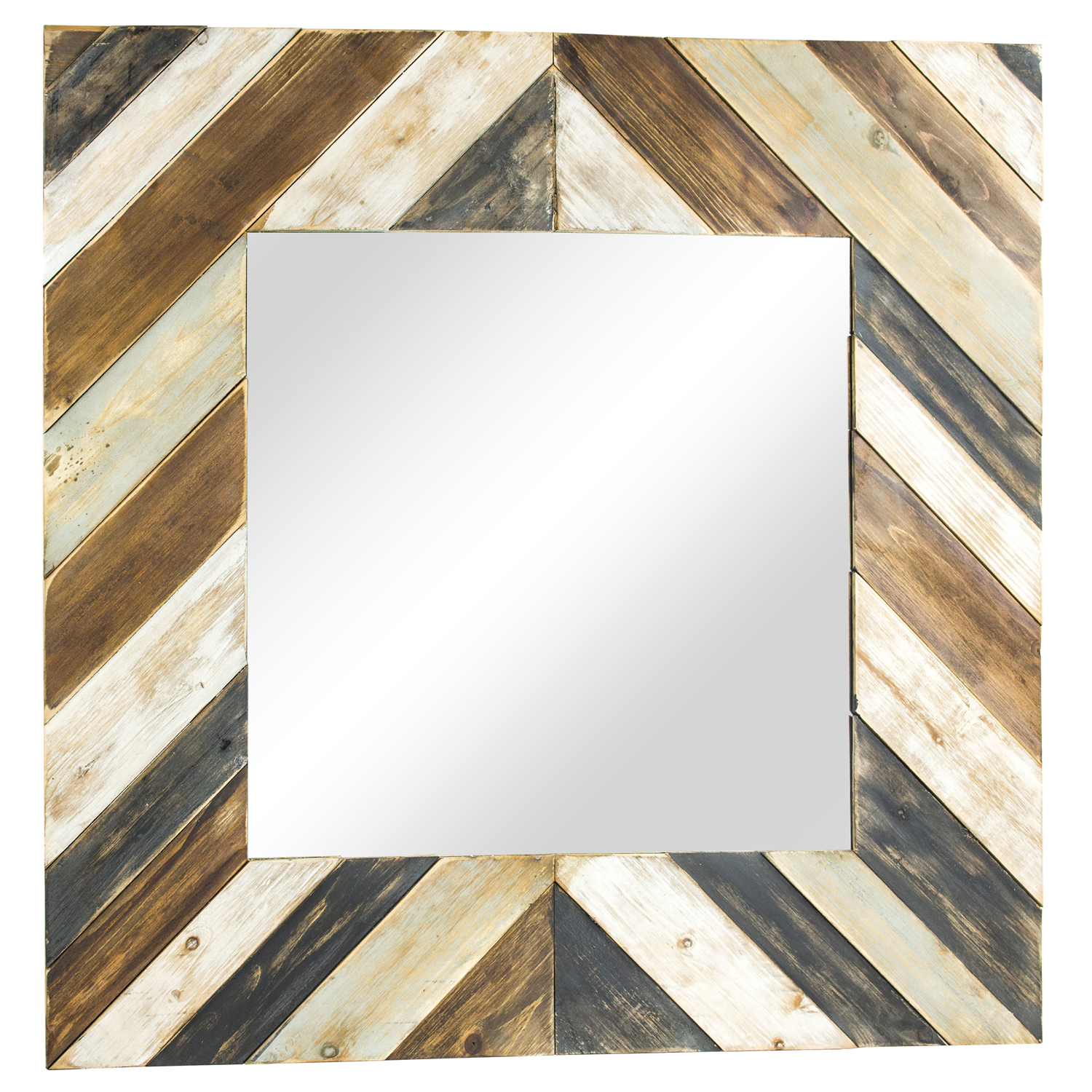 Farmhouse Rustic Planked Wood Square Mirror