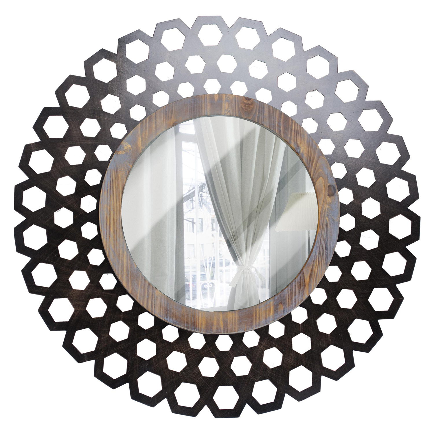 variation thumbnail of Large Round Metal & Wood Mirror