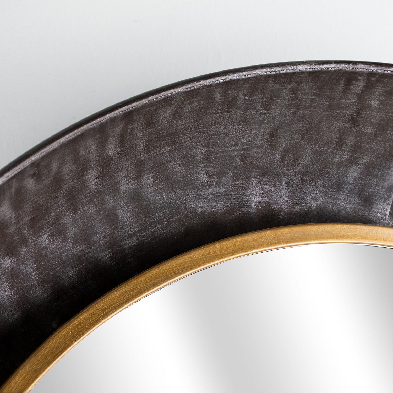 Gold & Silver Metal Antiqued Round Mirror