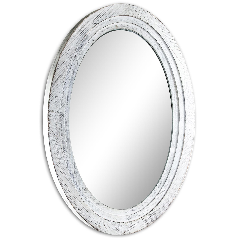 Antiqued White Farmhouse Oval Mirror