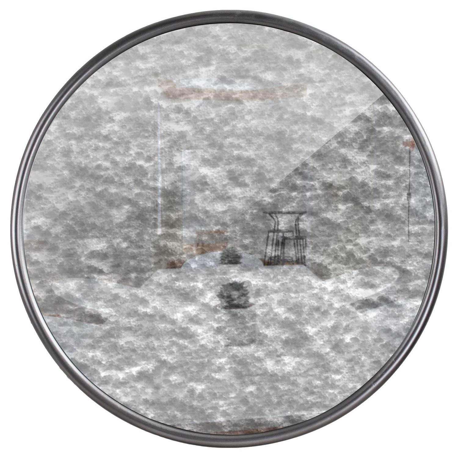 variation thumbnail of Silver Antiqued Vintage Round Mirror
