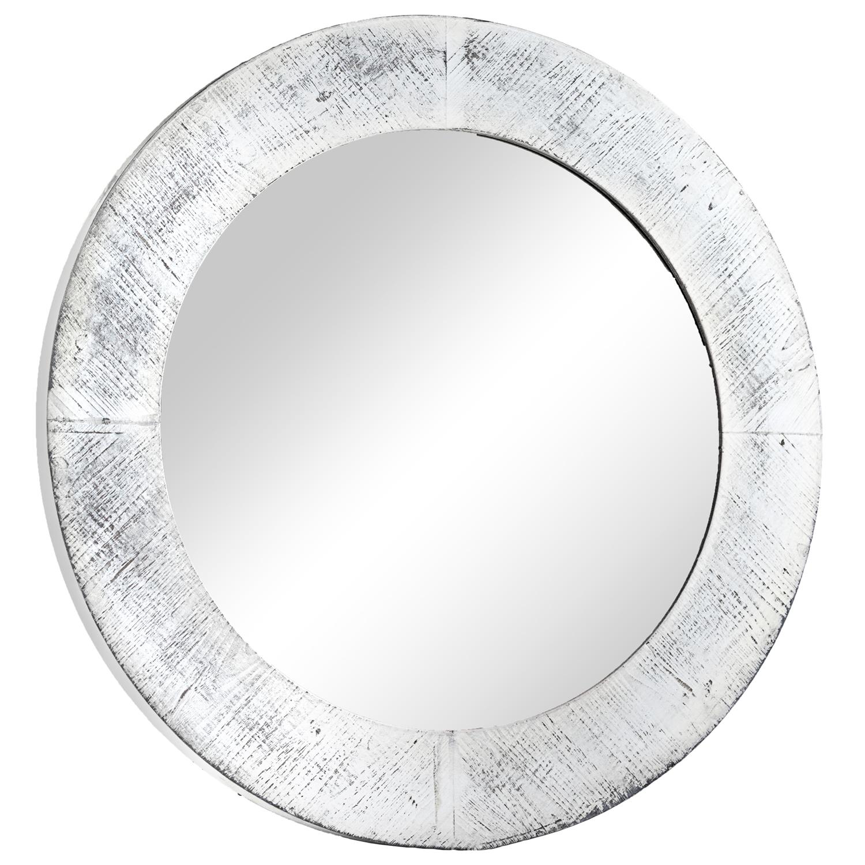 Distressed White Farmhouse Round Mirror