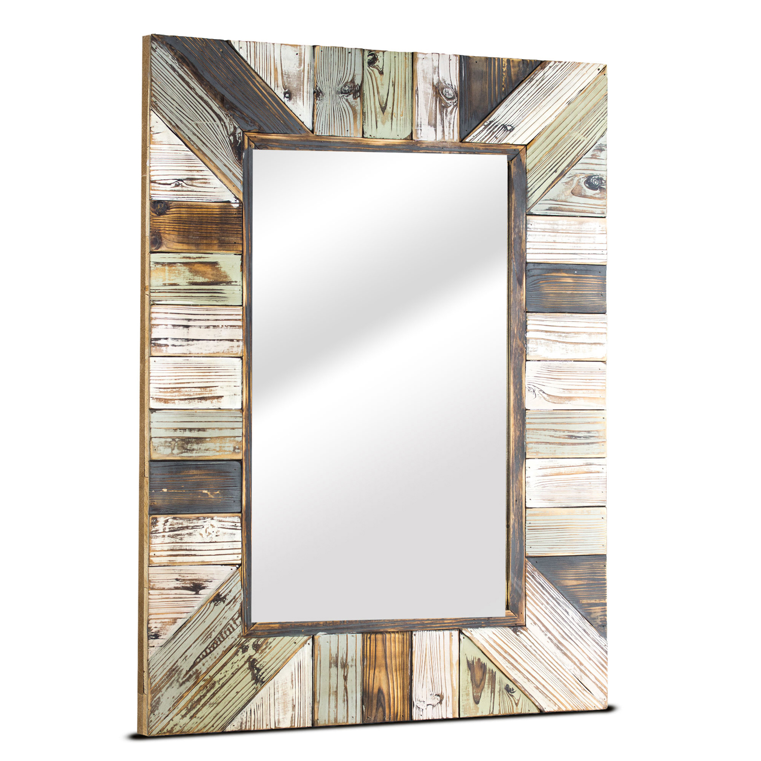 Farmhouse Rustic Planked Wood Mirror
