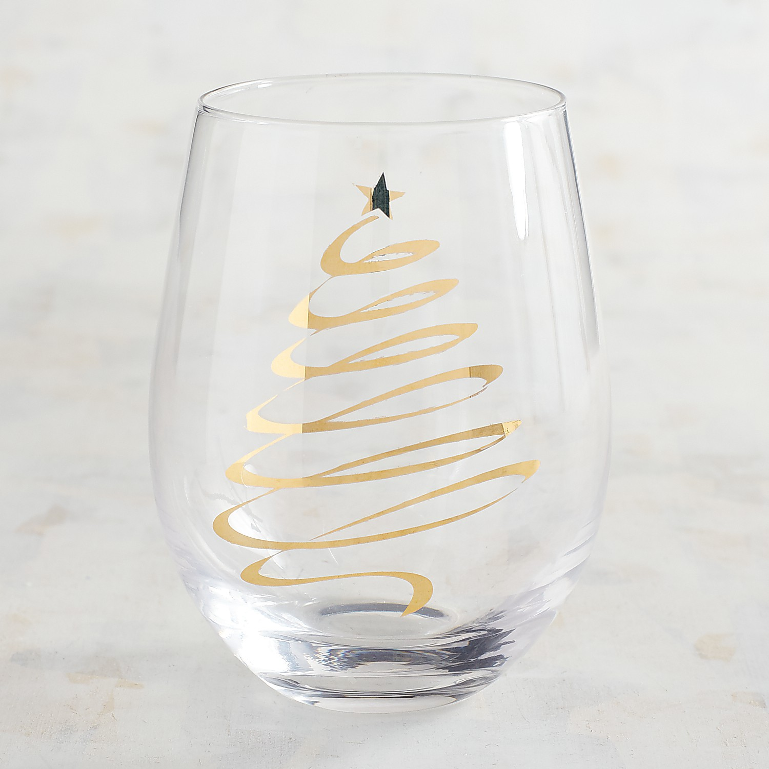Gold Tree Decal Stemless Wine Glass