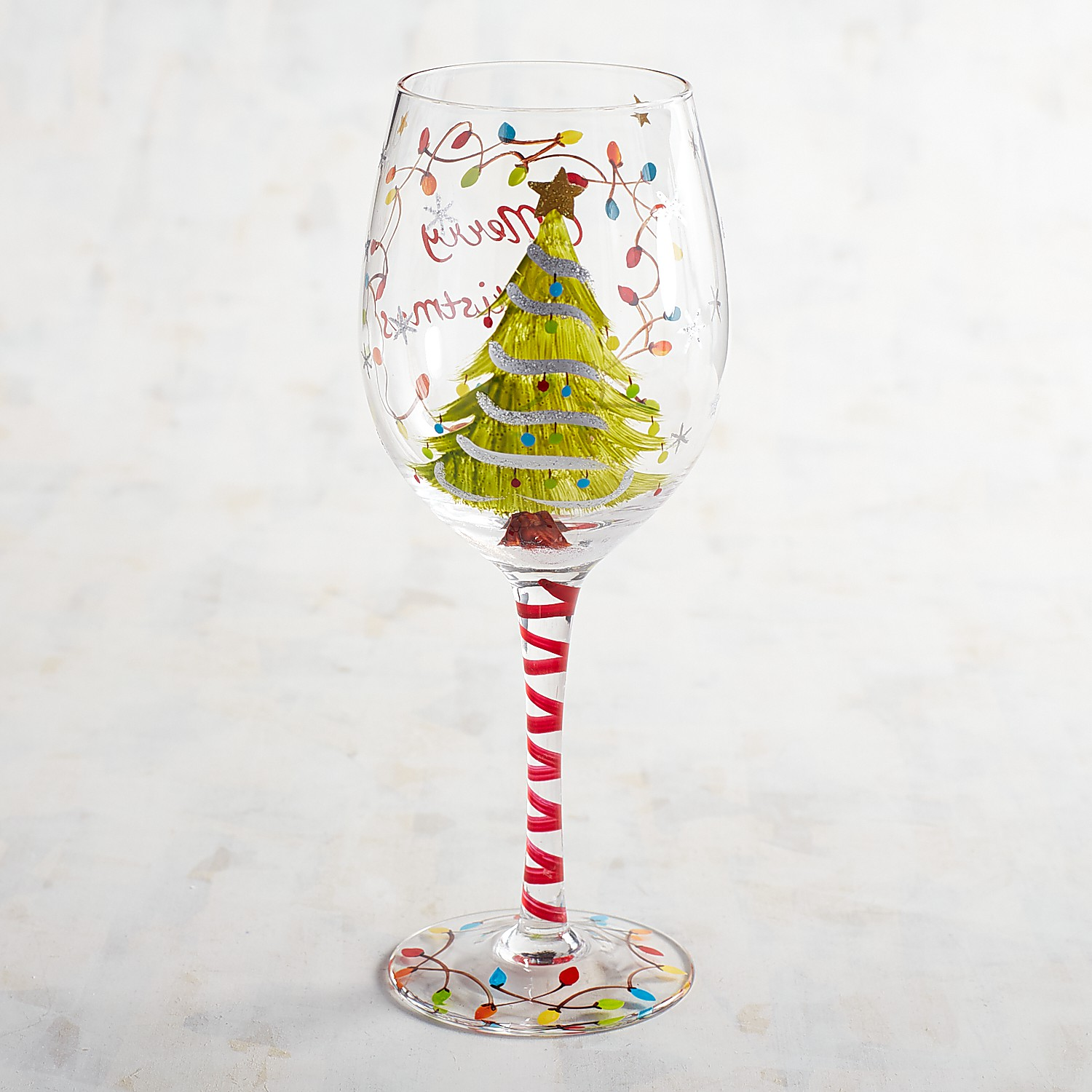 Christmas Tree with Lights Hand-Painted Wine Glass