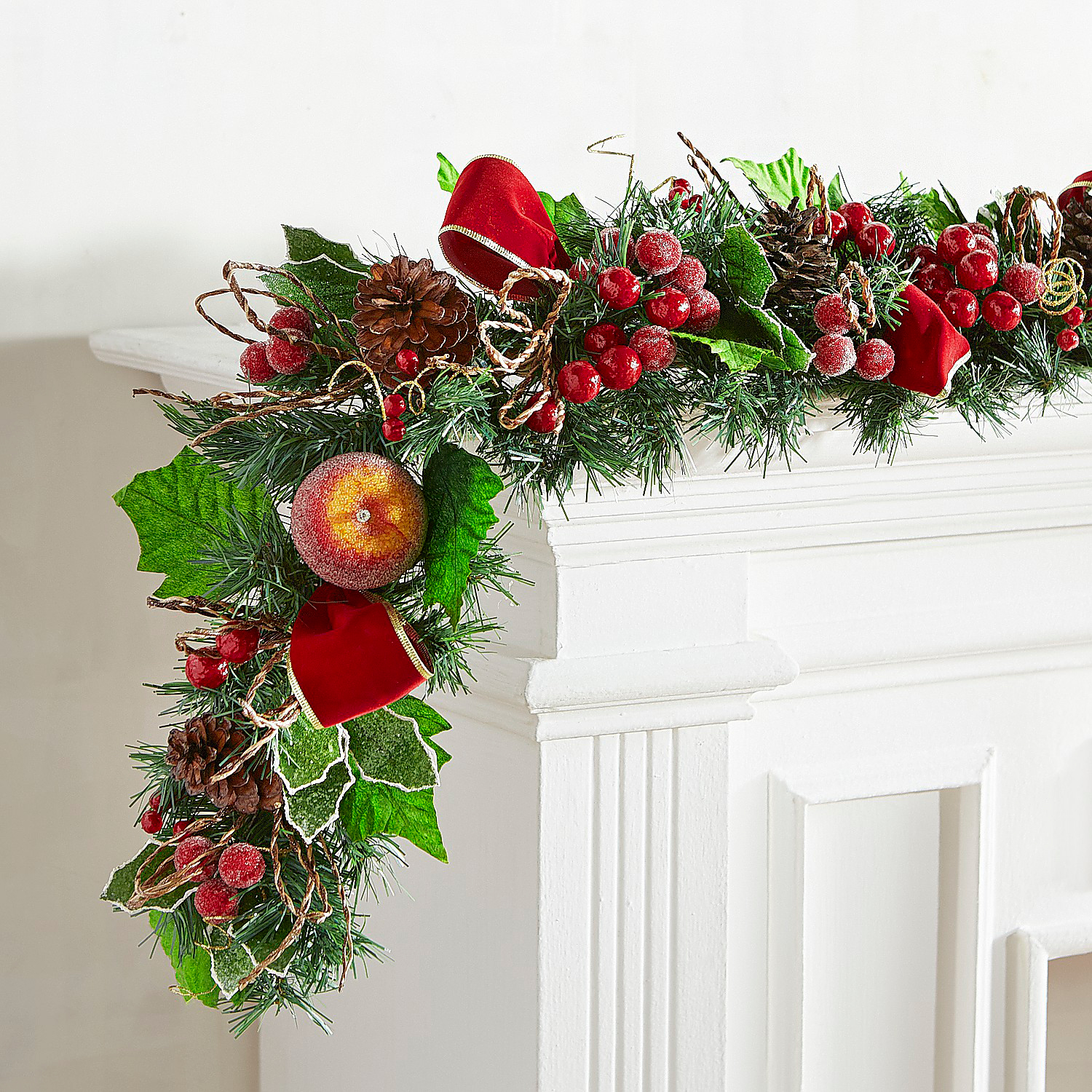 Faux Apple Holly & Berry 6' Garland