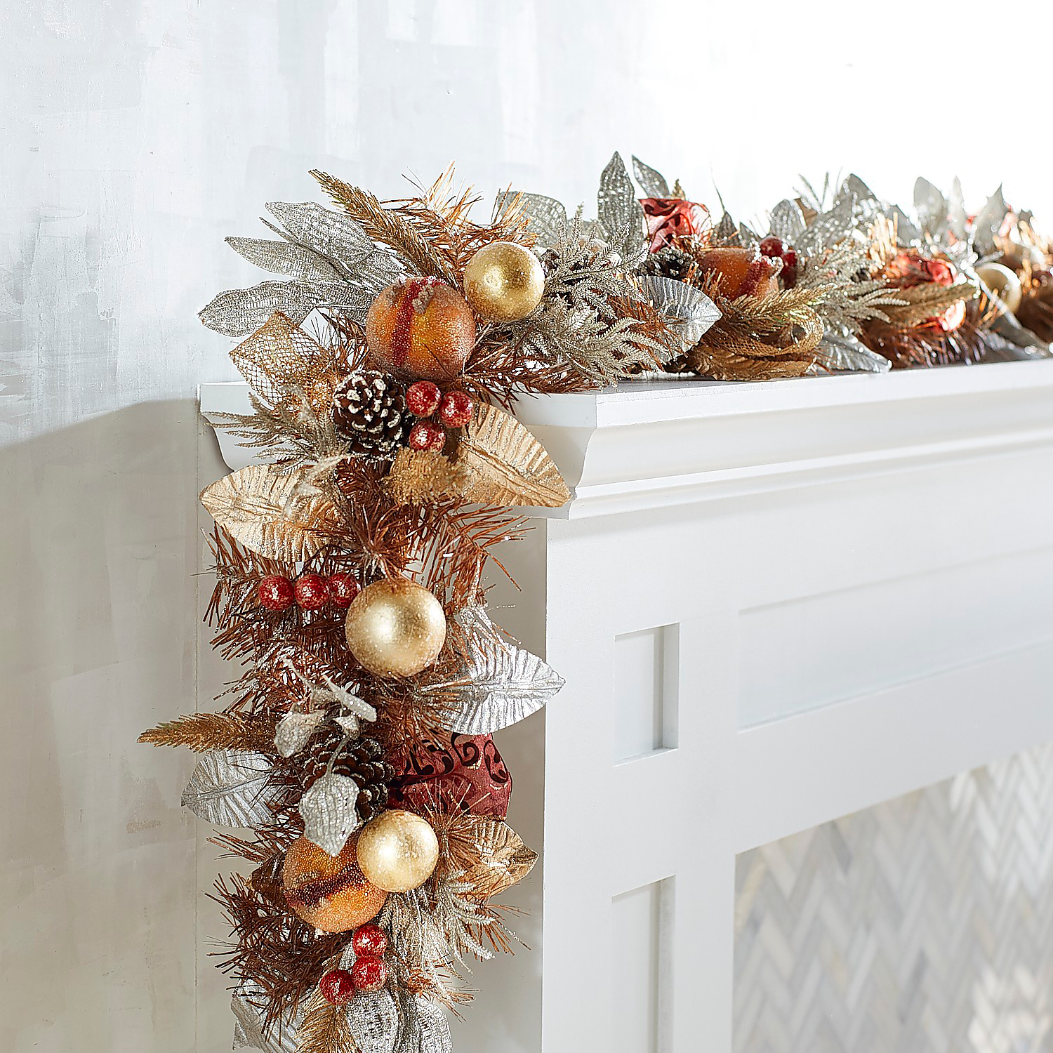 Elegant Frosted Faux Pomegranate 6' Garland