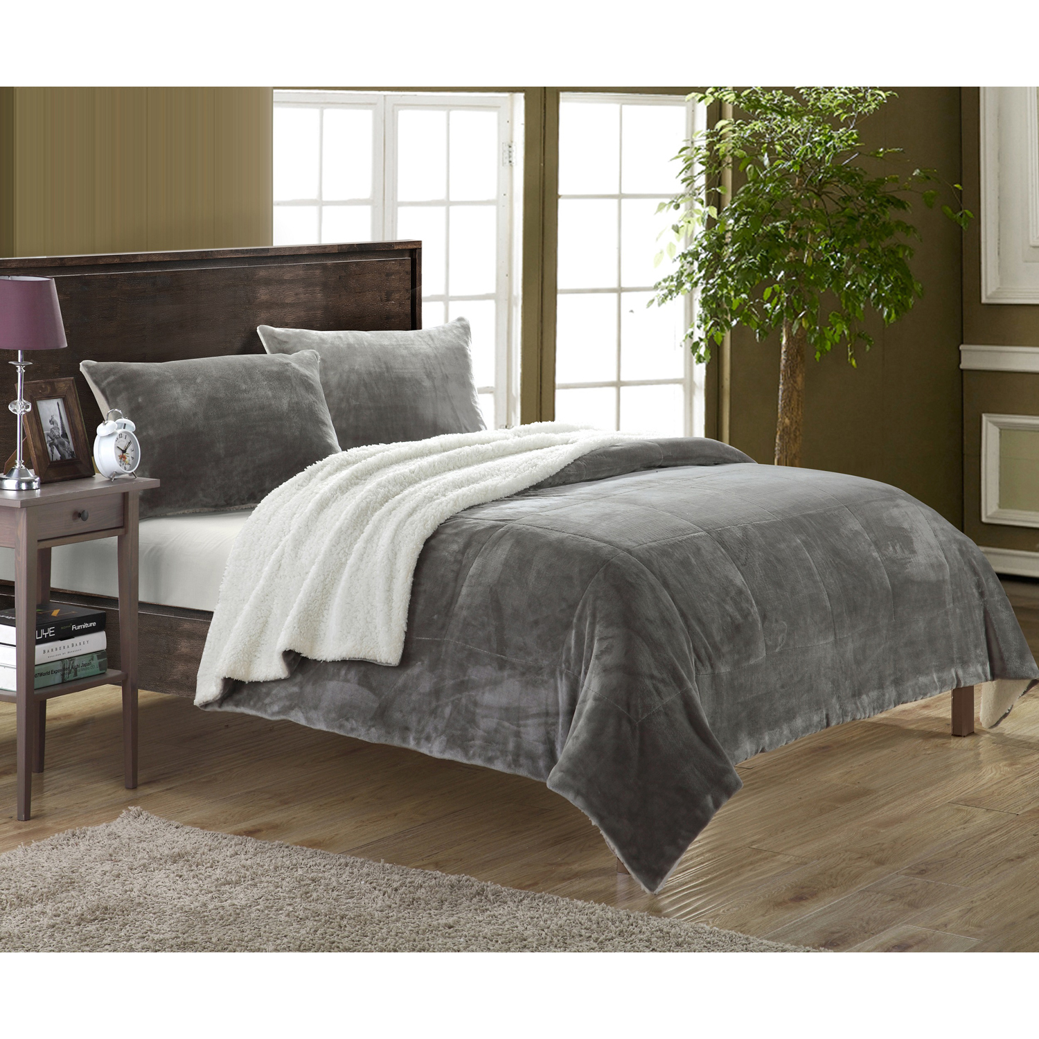 Ernest Gray Sherpa Queen Bed in a Bag