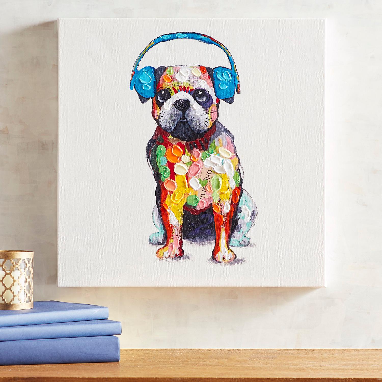 Pup with Beats Wall Art