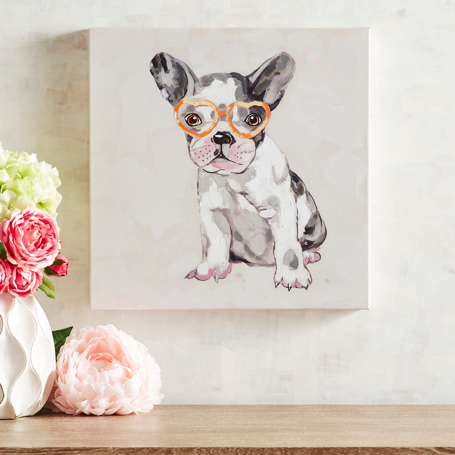 Heart Glasses Pup Wall Art