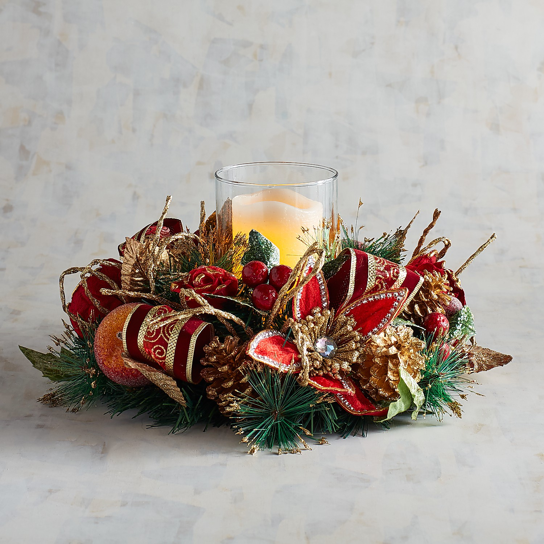 Faux Poinsettia & Sugared Apple Hurricane Candle Holder