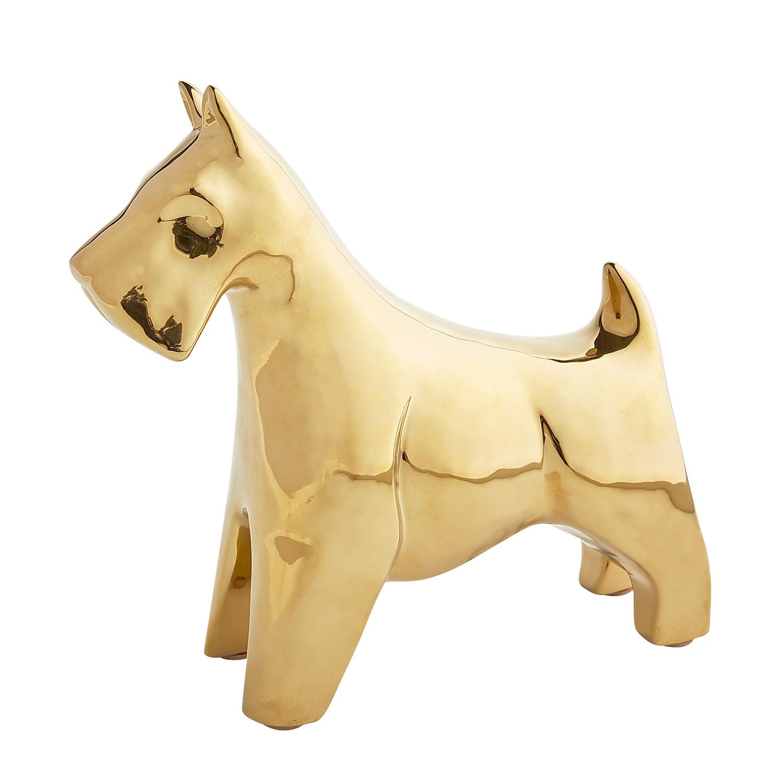 Golden Ceramic Dog Figurine