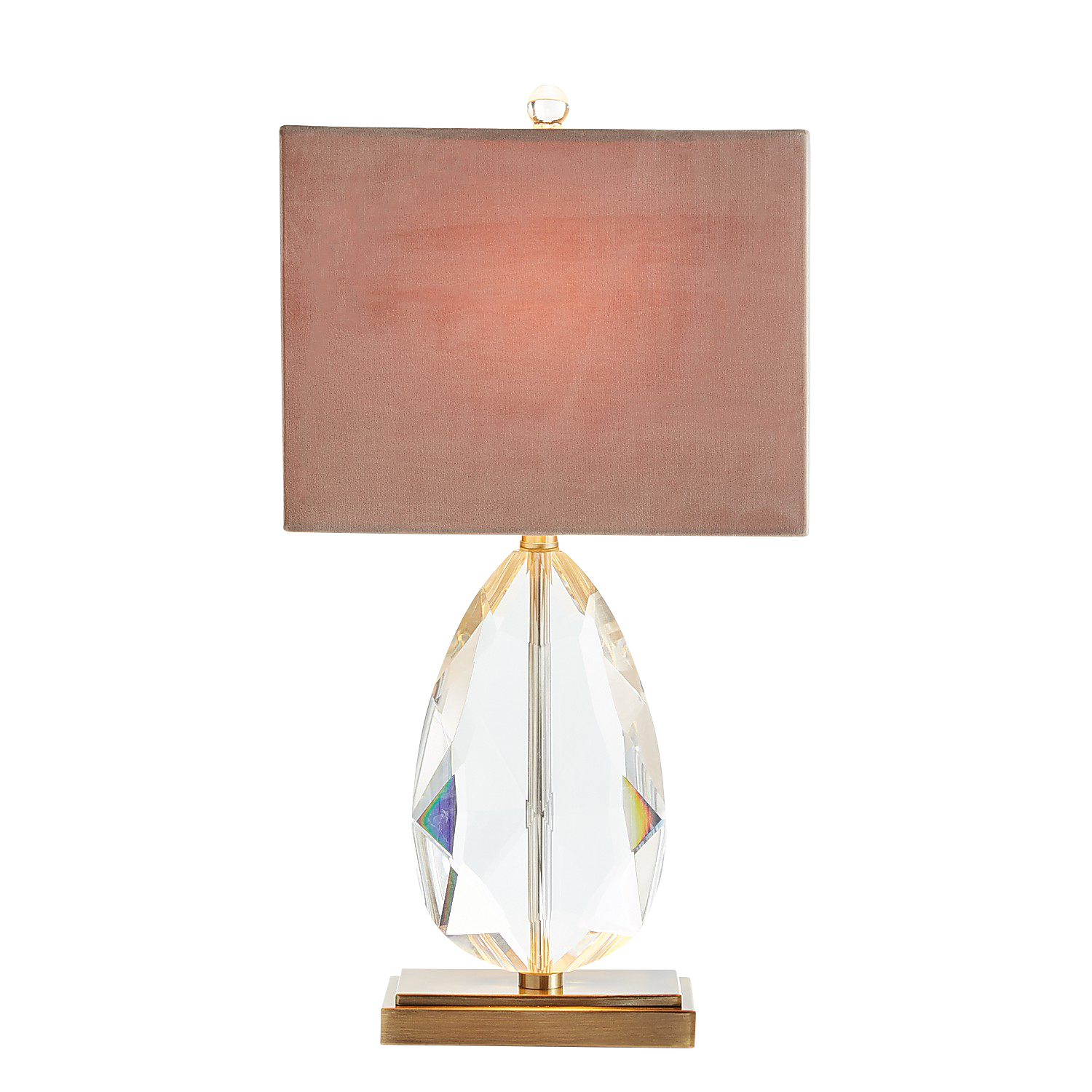 Grand Crystal Table Lamp with Velvet Shade