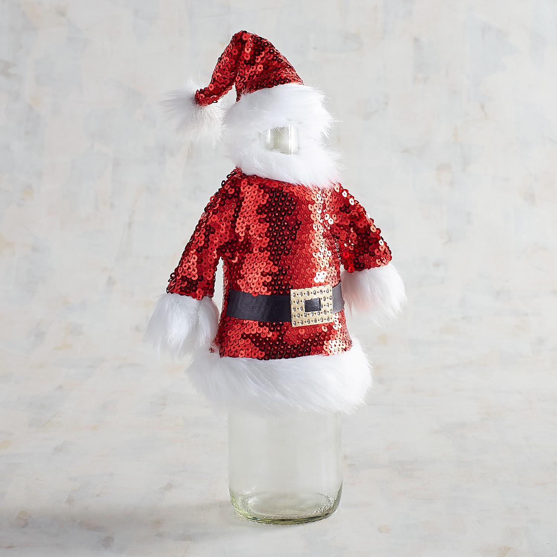 Santa Sequined Bottle Cover