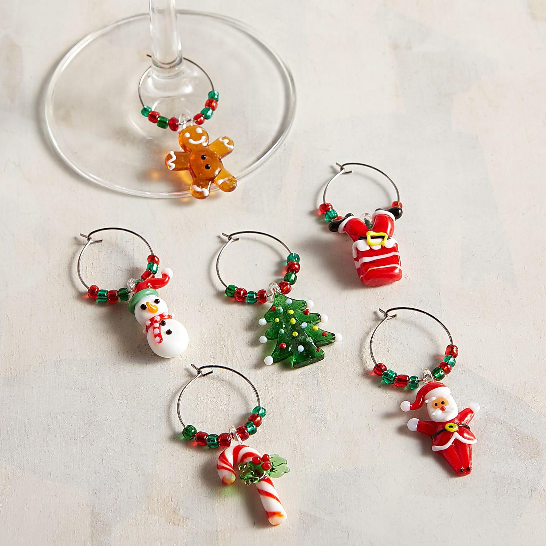 Christmas Glass Drink Charm Set