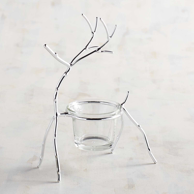 Silver Reindeer Tealight Candle Holder
