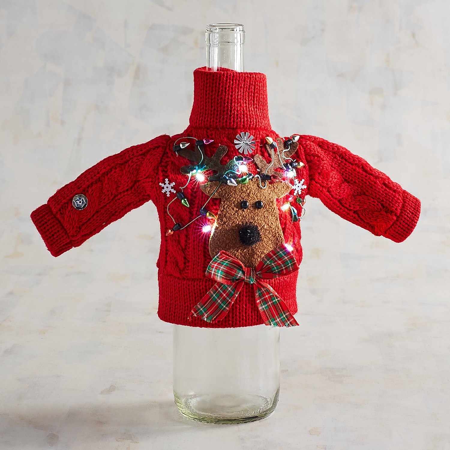 LED Light-Up Reindeer Christmas Sweater Bottle Cover