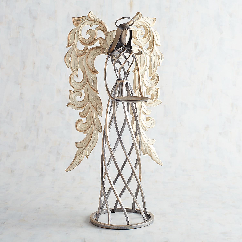 Carved Angel Pillar Candle Holder