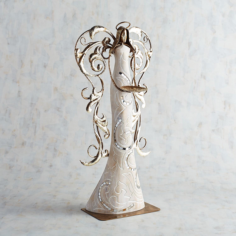 Wood Angel Pillar Candle Holder