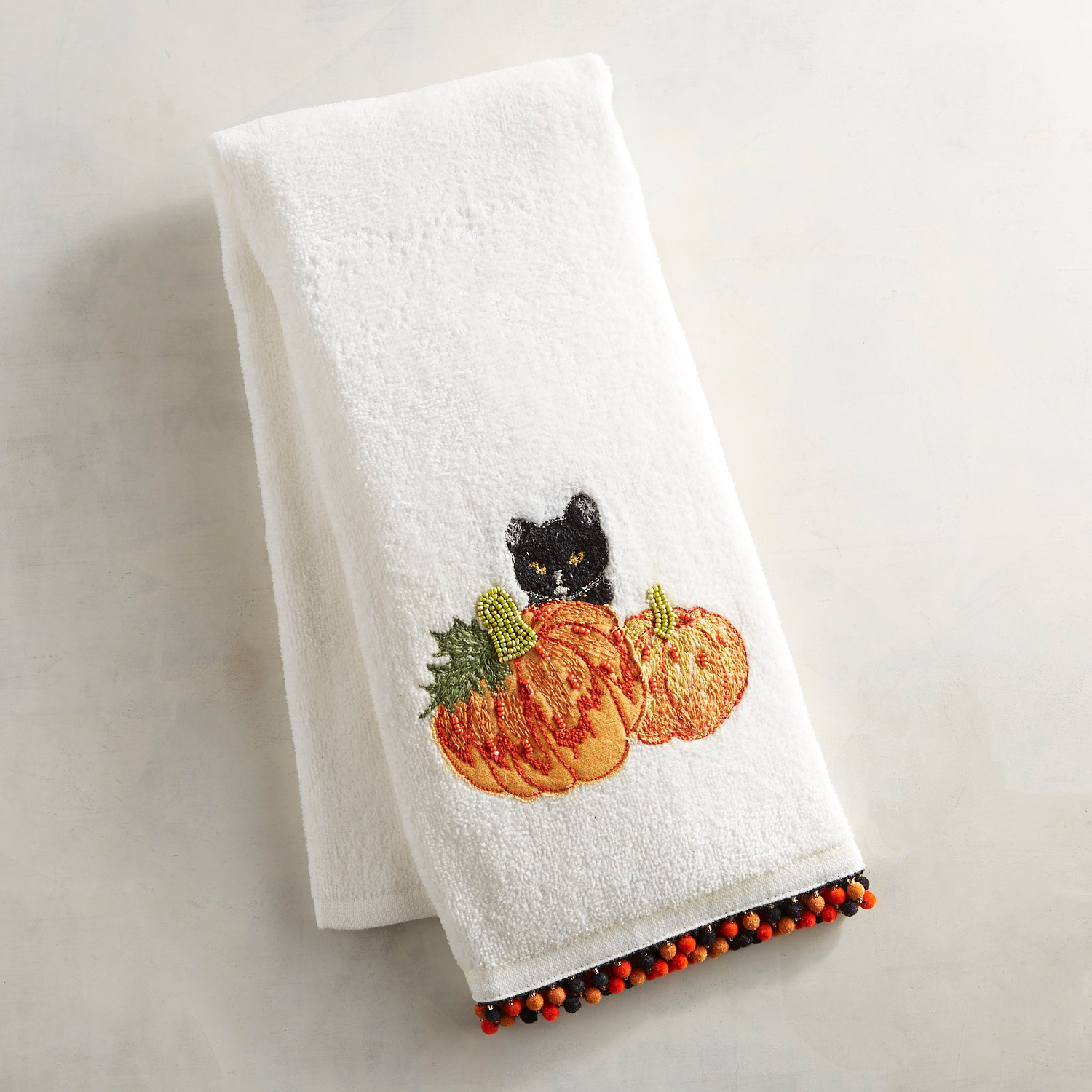 Black Cat in Pumpkin Patch Fingertip Towel