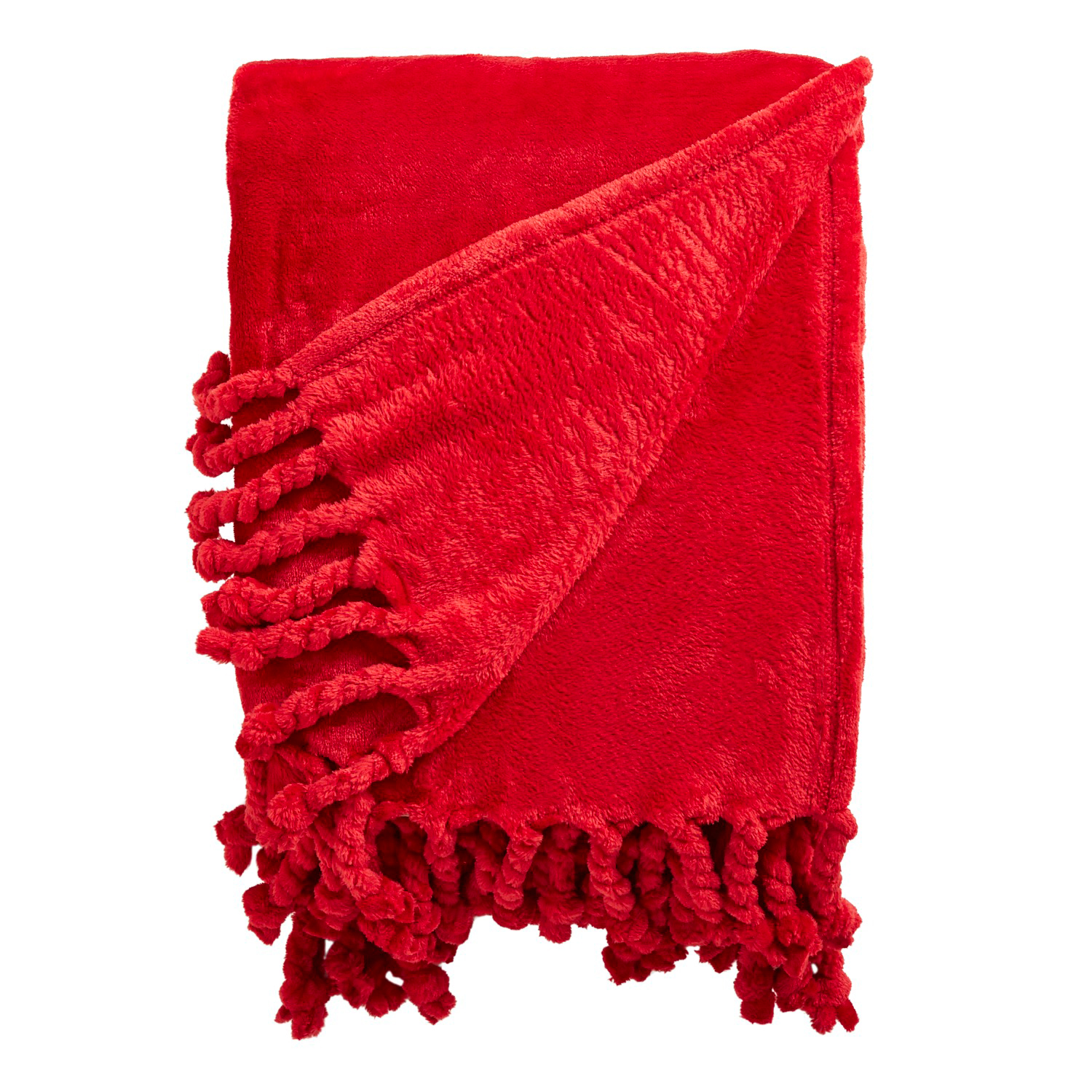 Red Plush Throw with Tassels