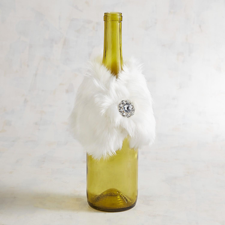 White Faux Fur Stole Bottle Cover