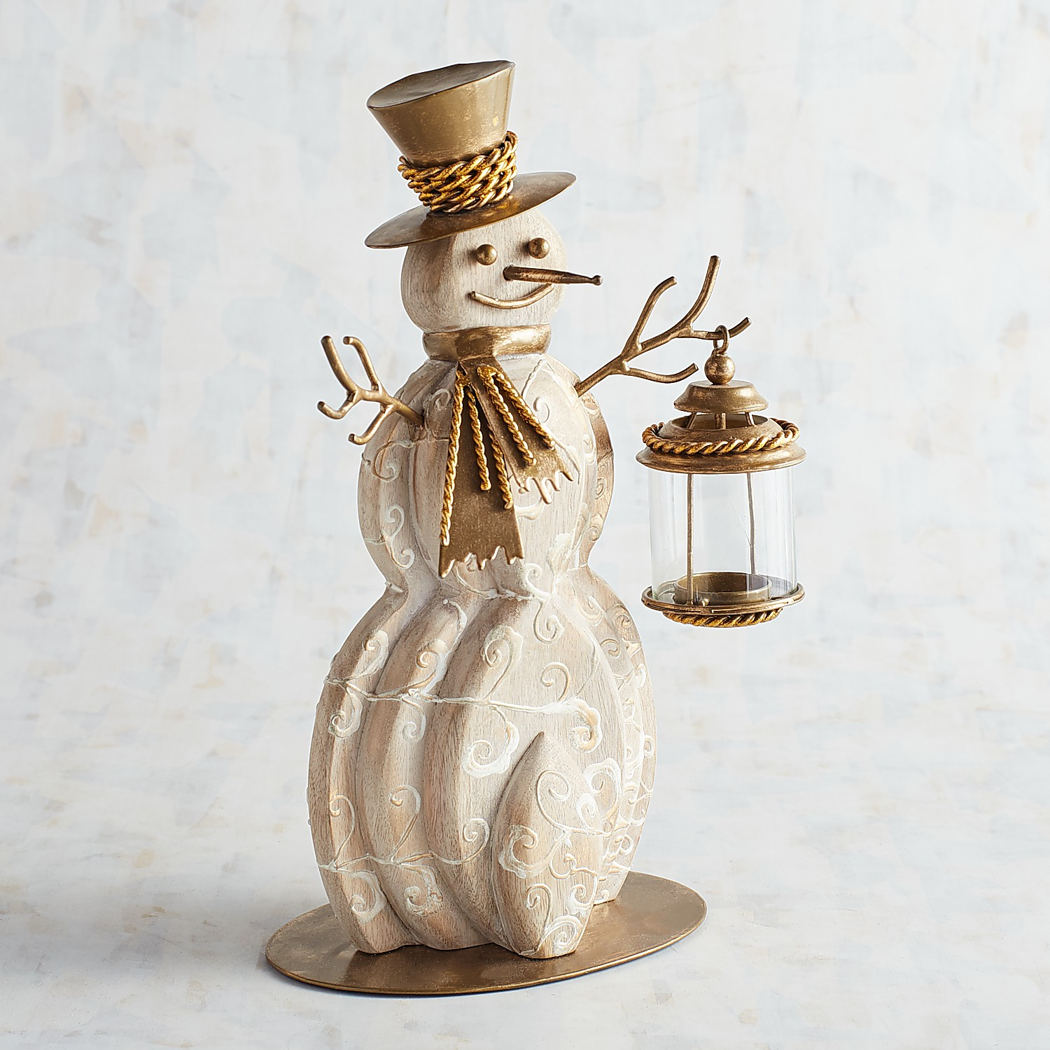 Wood Snowman with Lantern Tealight Candle Holder