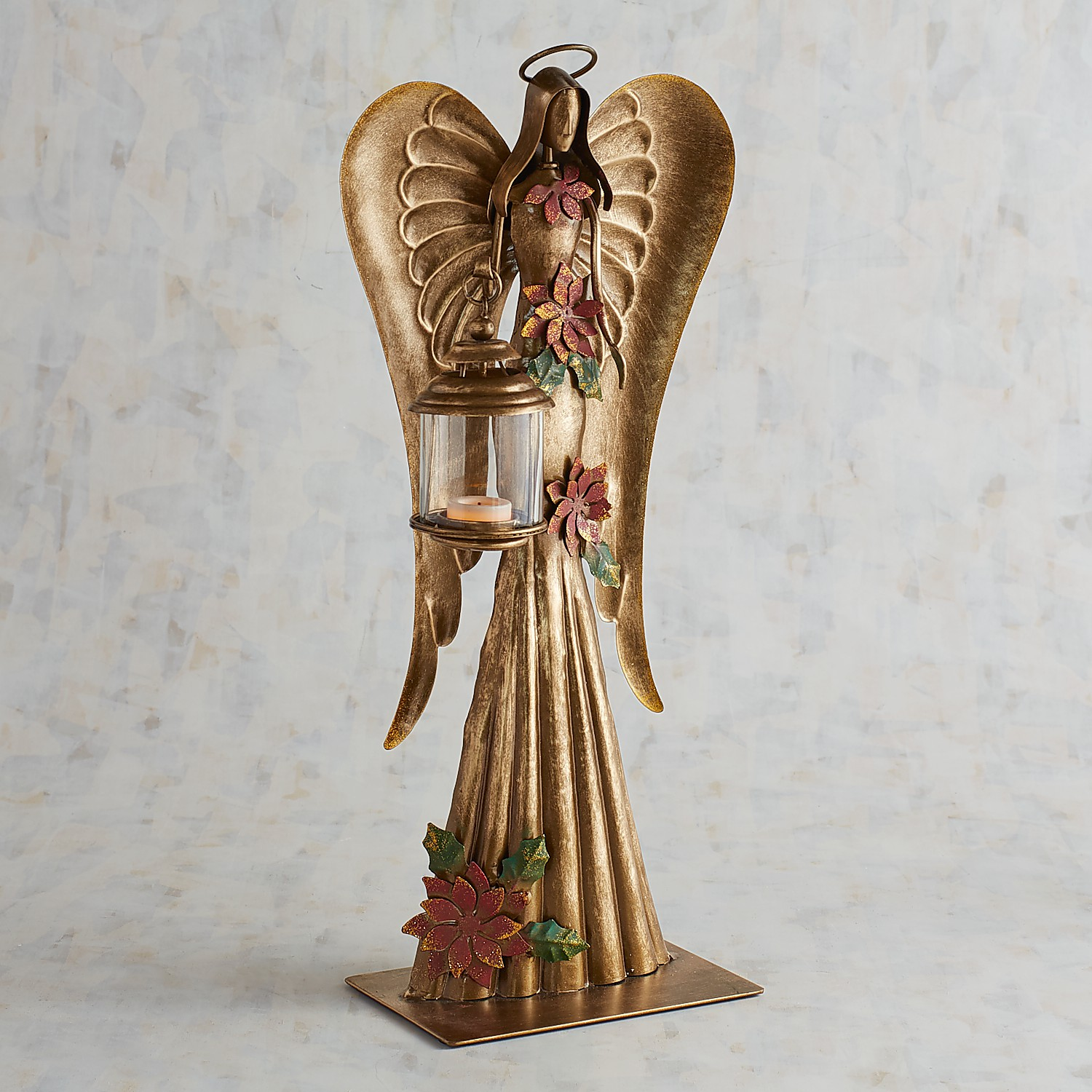 Metal Angel with Lantern Tealight Candle Holder