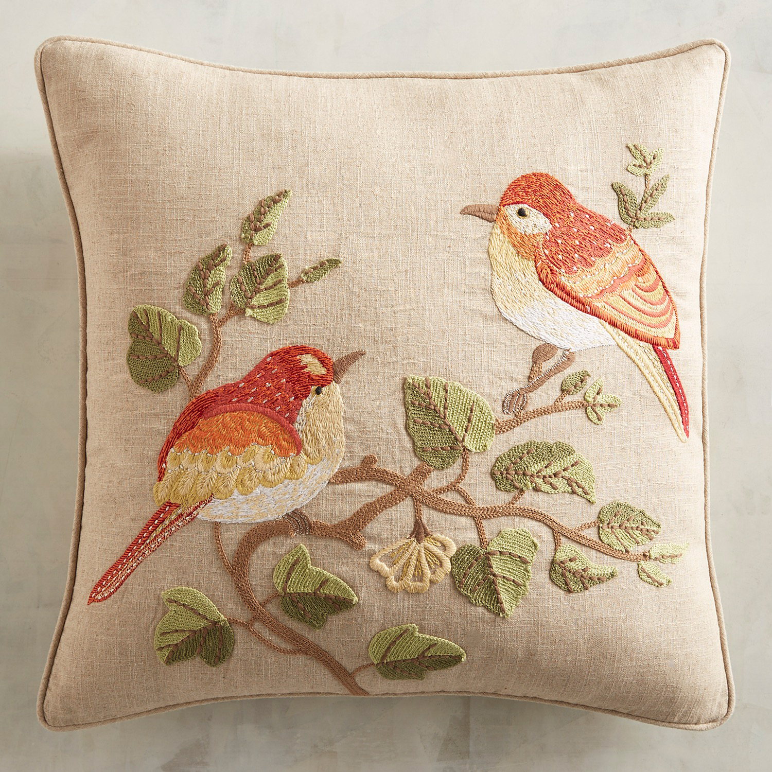 Embroidered Two Harvest Birds Pillow