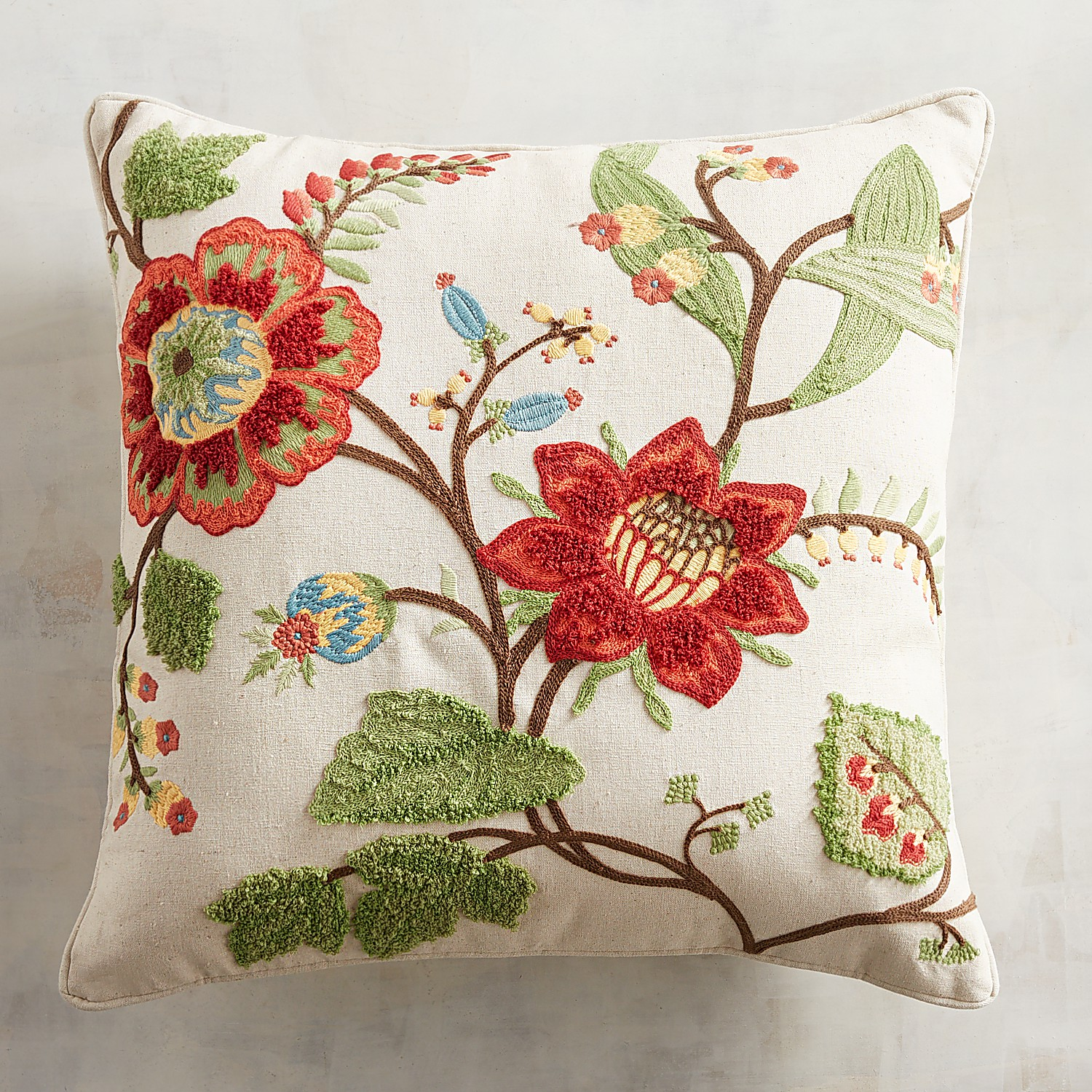 Embroidered Multifloral Harvest Pillow