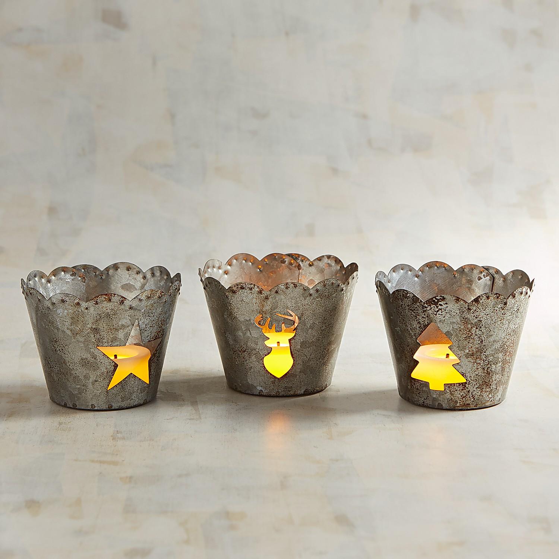 Galvanized Tealight Candle Holder Set
