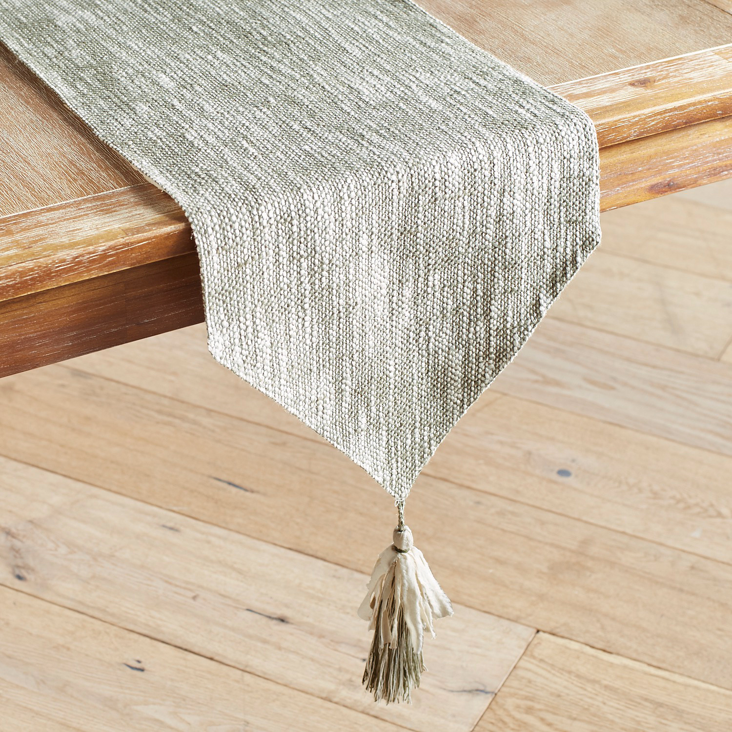 """Green & Ivory Woven 72"""" Table Runner with Tassels"""