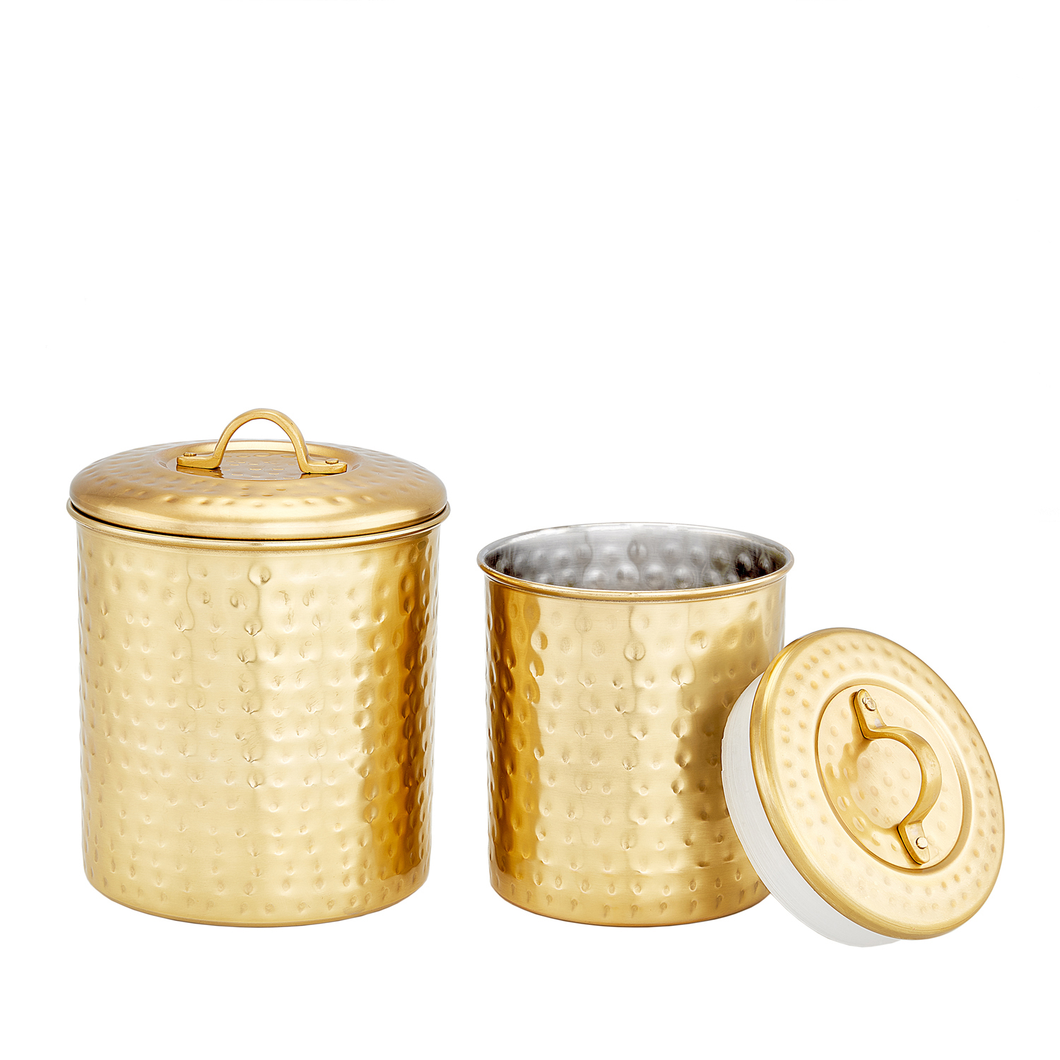 Champagne Tone Storage Canisters, Set of 2