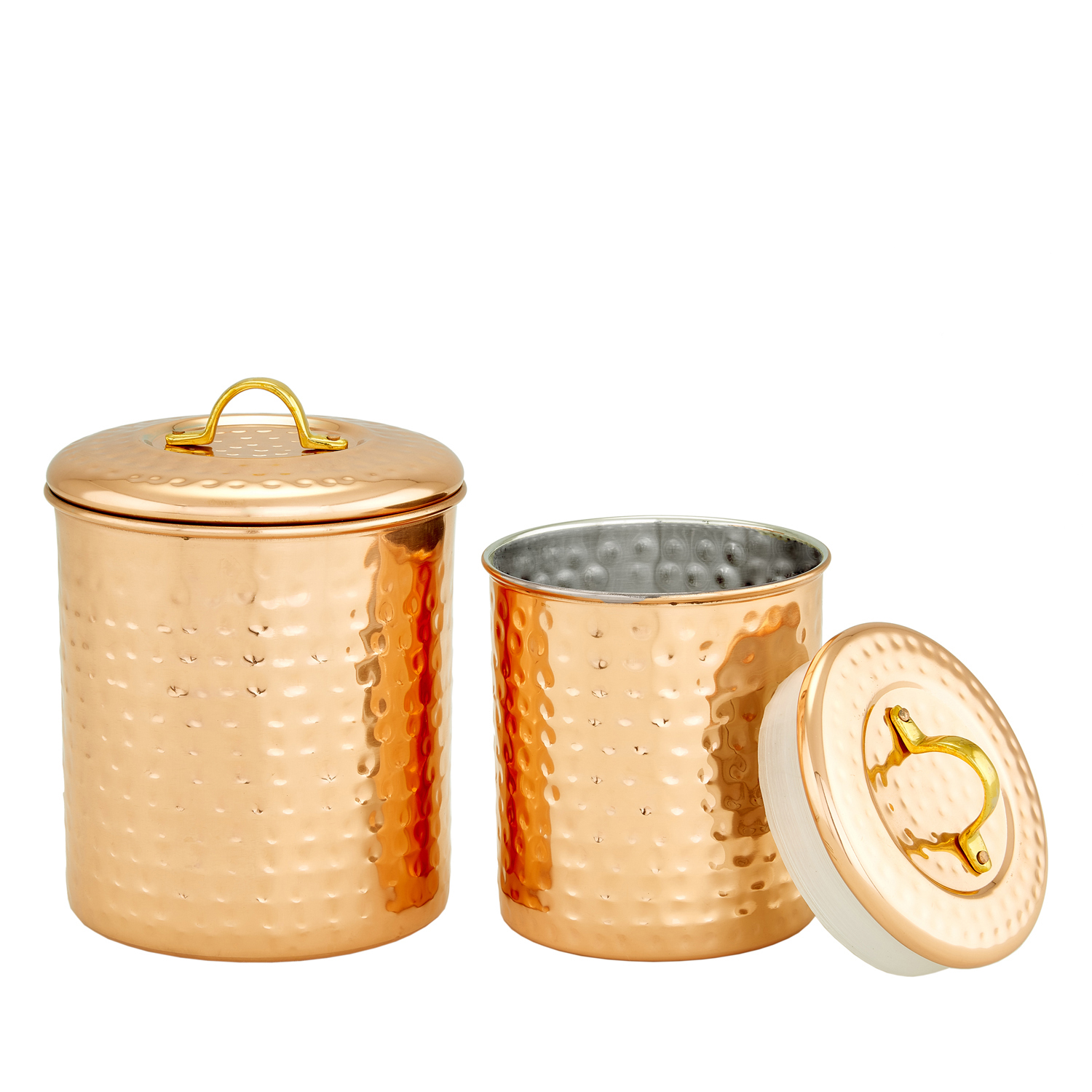 Copper Hammered Storage Canisters Set of 2