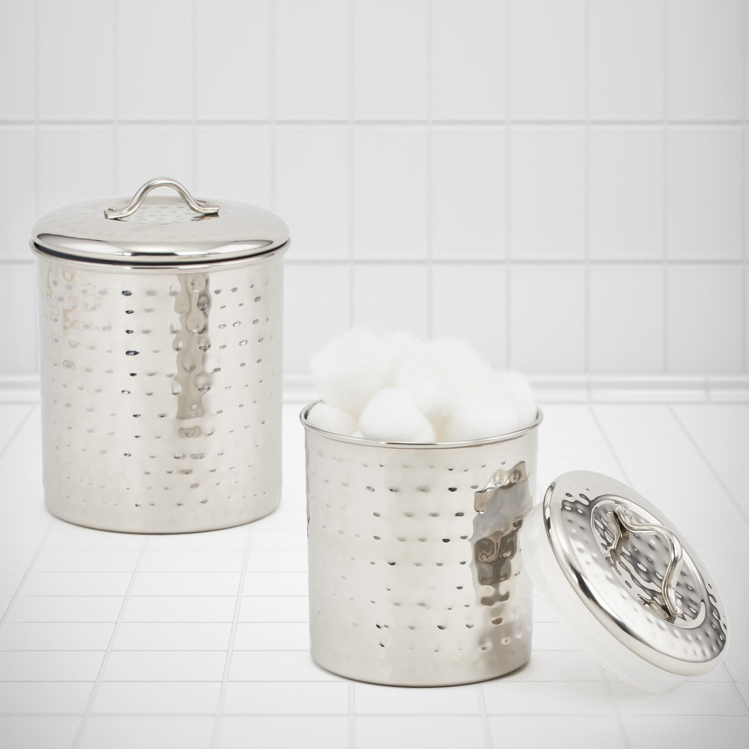 Stainless Steel Hammered Canisters, Set of 2