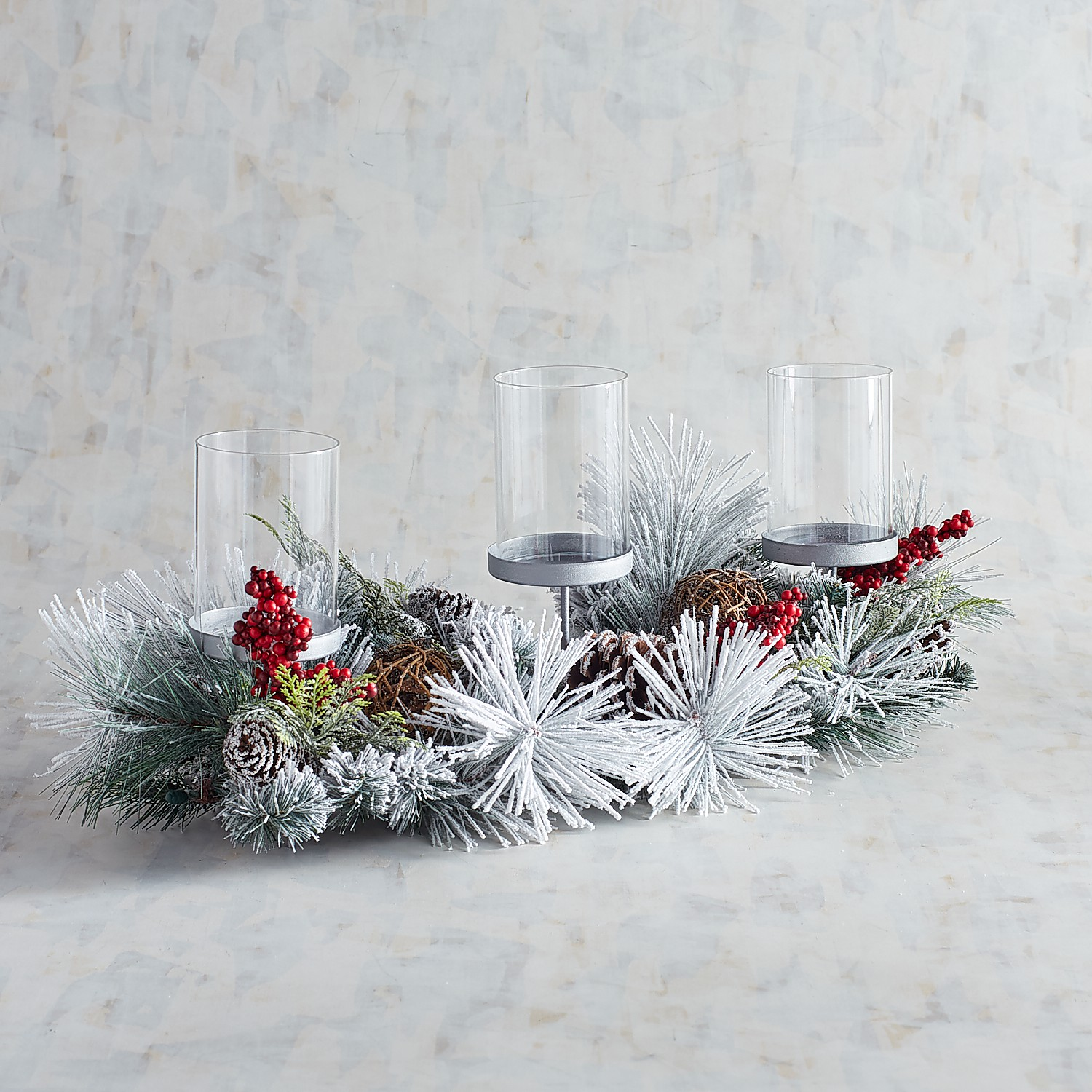 Snowy Pinecone 3-Pillar Candle Holder