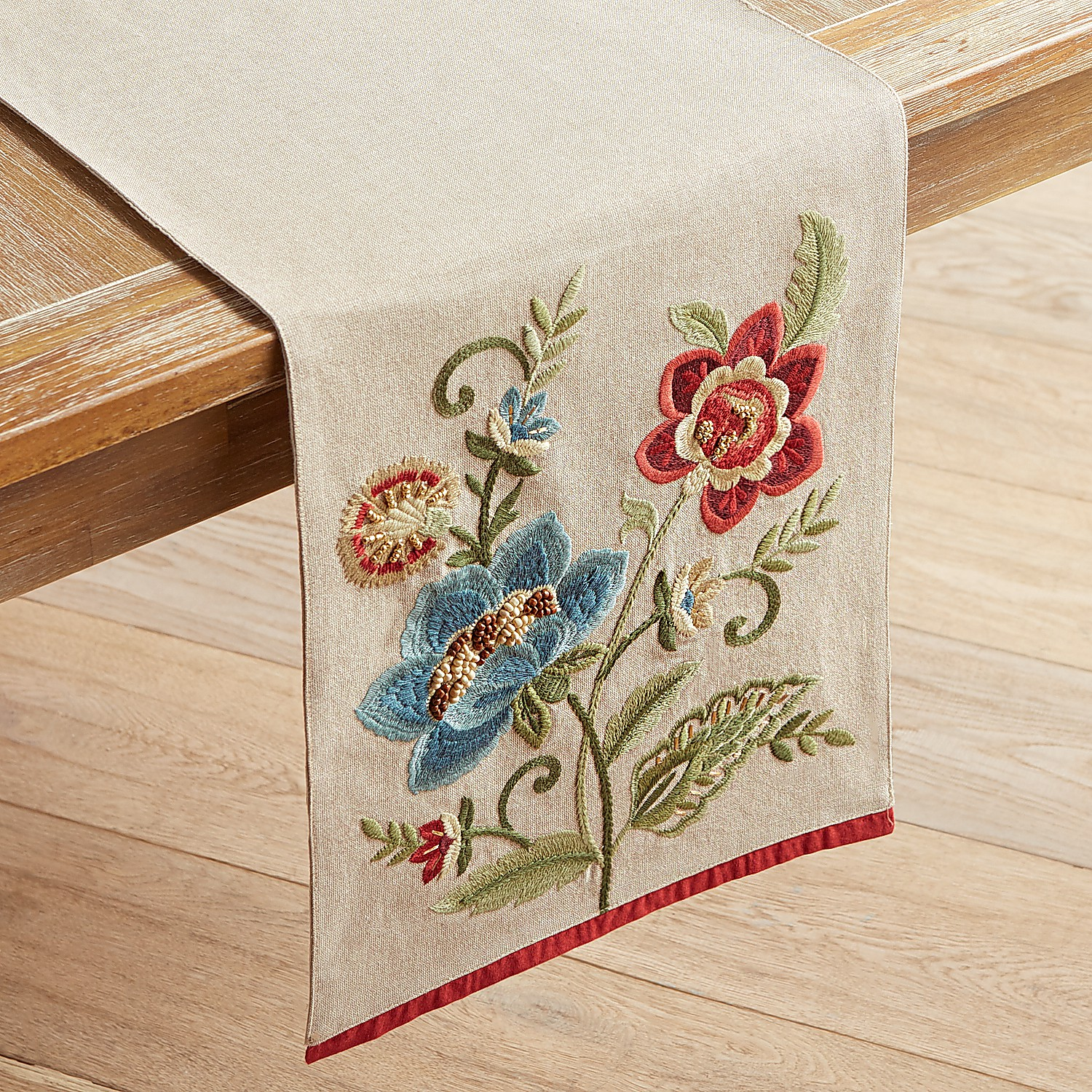 """Embroidered Floral 72"""" Table Runner"""