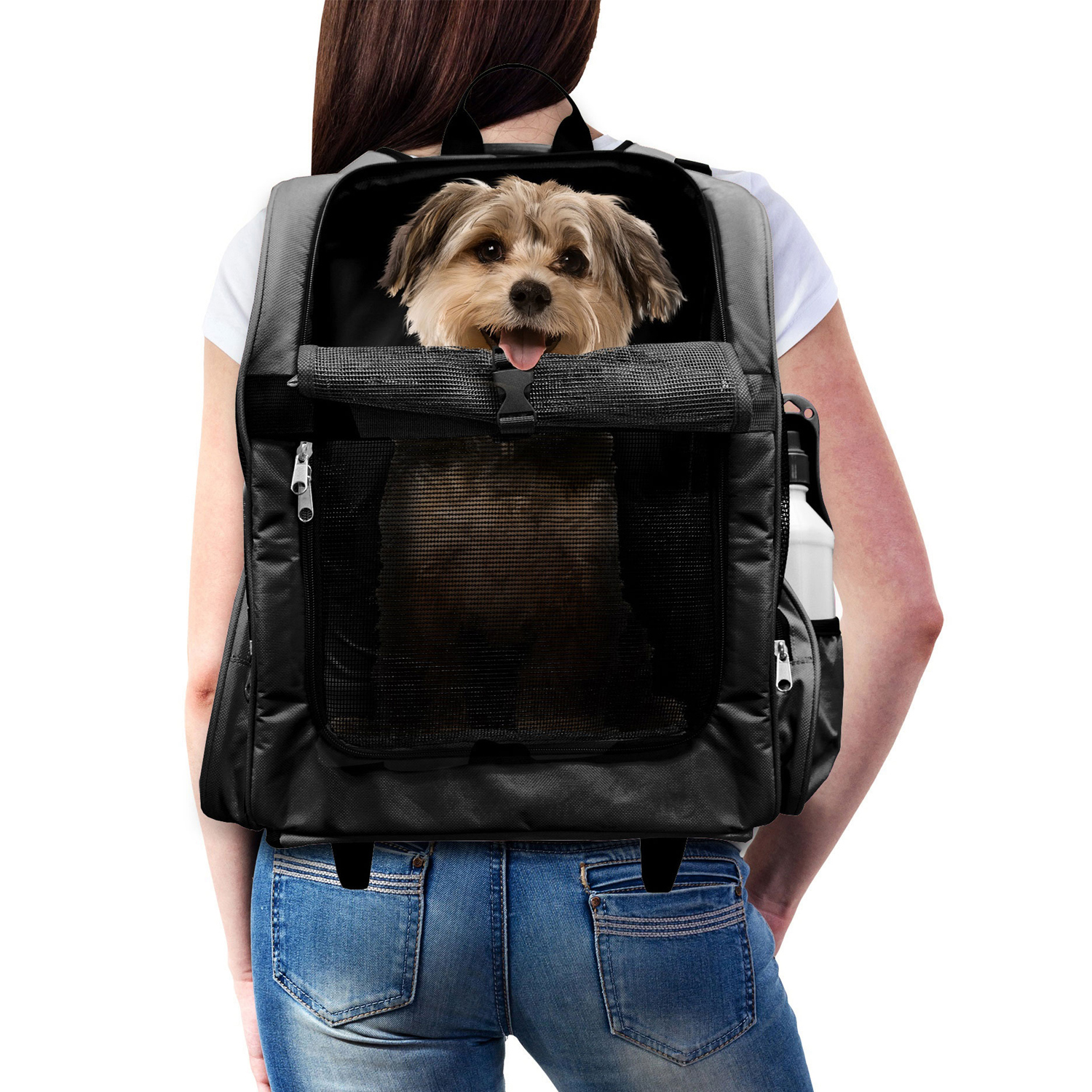 Pet Roller Backpack Carrier with Water Bottle in Black