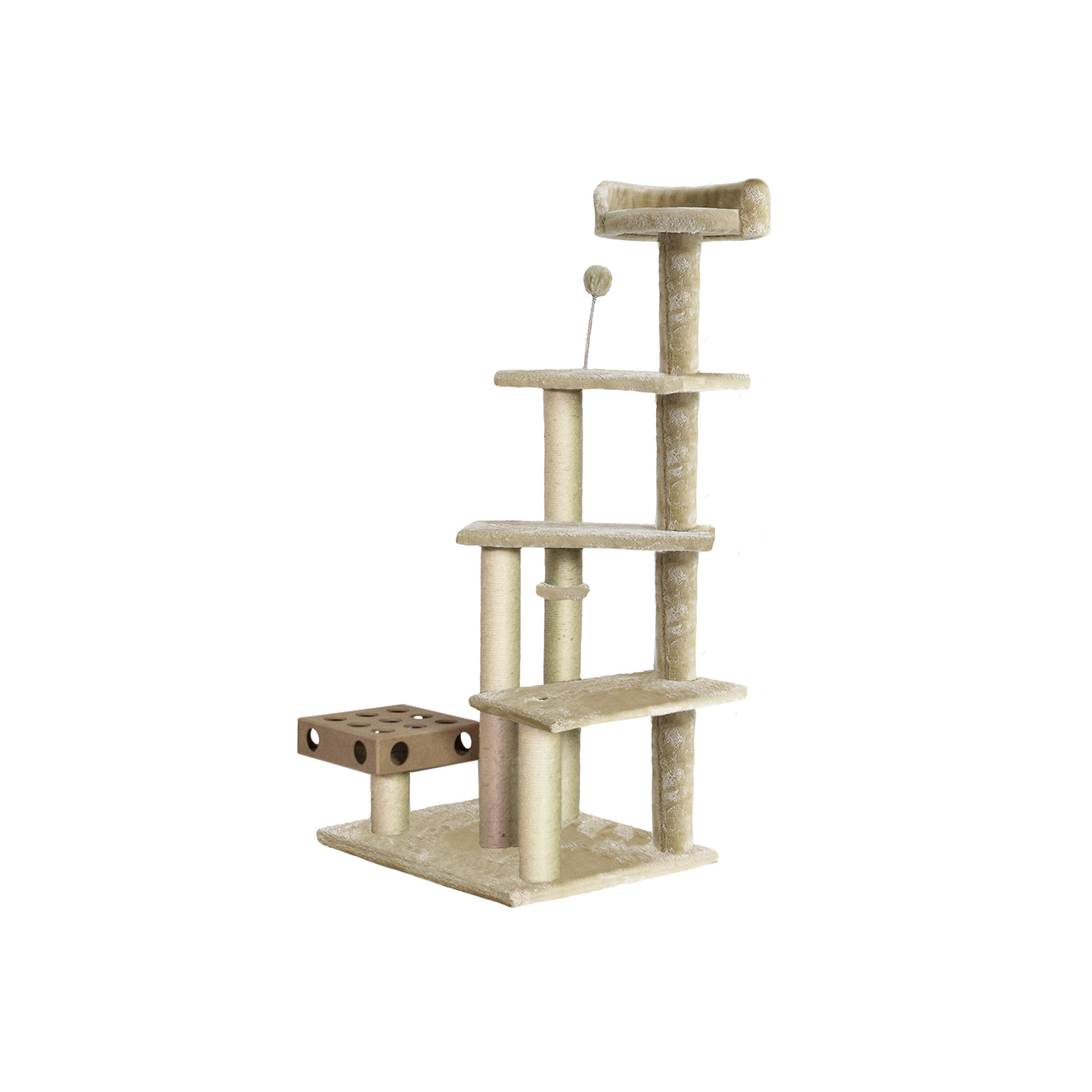 Cat Furniture Play Stairs with Cat-IQ Busy Box in Cream