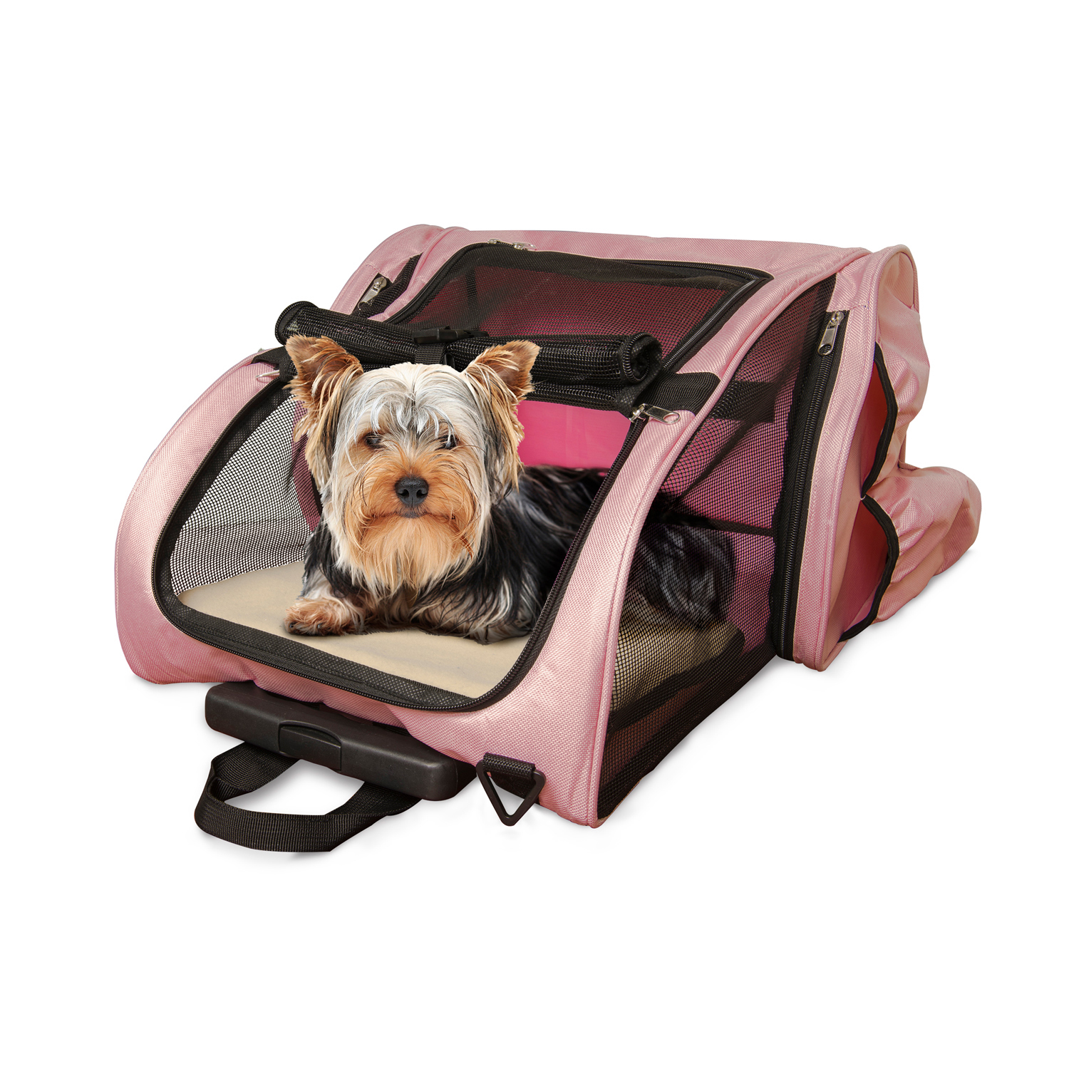 Pet Roller Backpack Carrier with Water Bottle in Pink