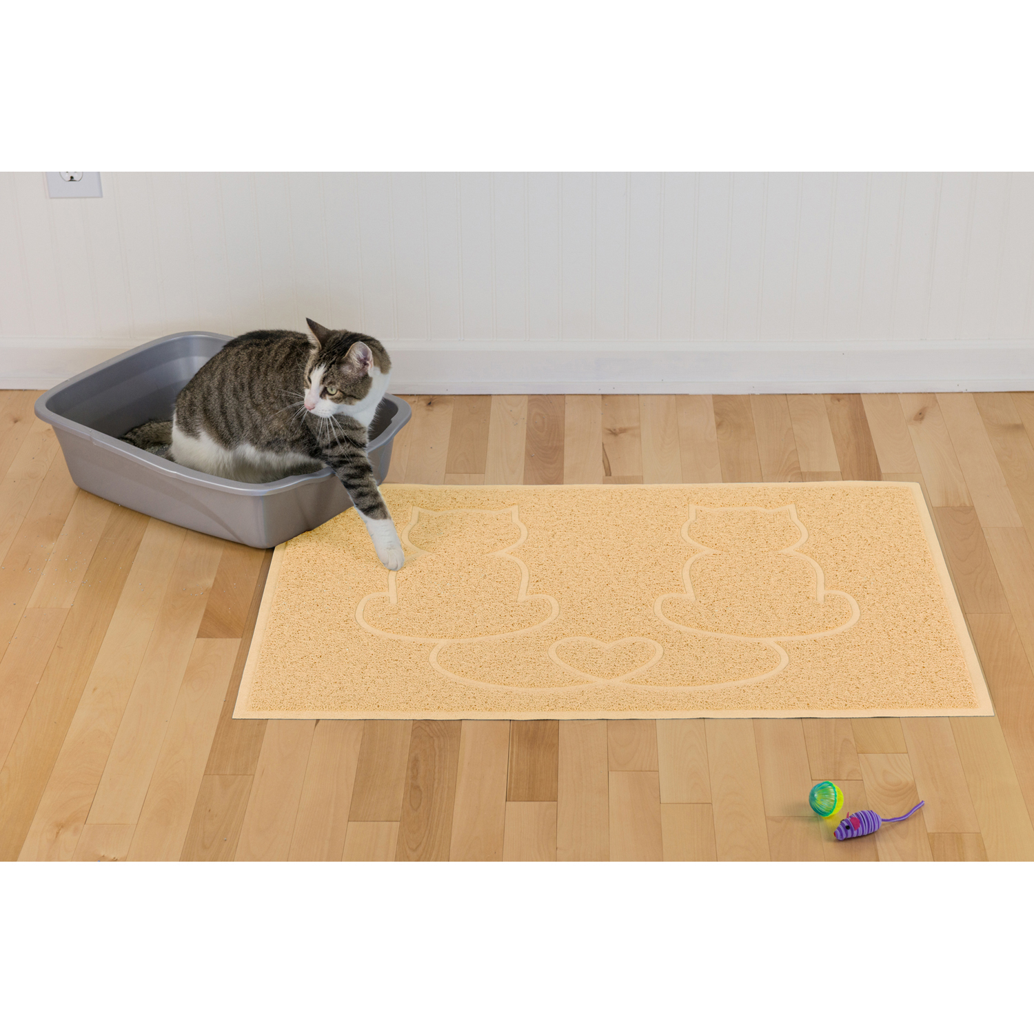 Tiger Tough Tidy Paws Litter & Food Mat in Cream